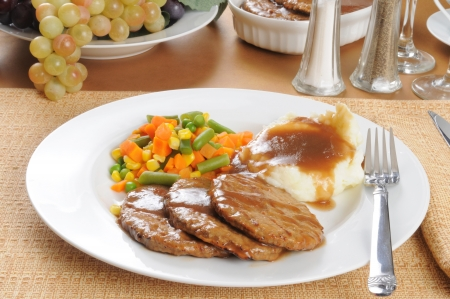 A salisbury steak diner with mashed potatoes and gravy Stock Photo - 13738079
