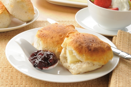 buttered: Hot buttered biscuits with blueberry jam
