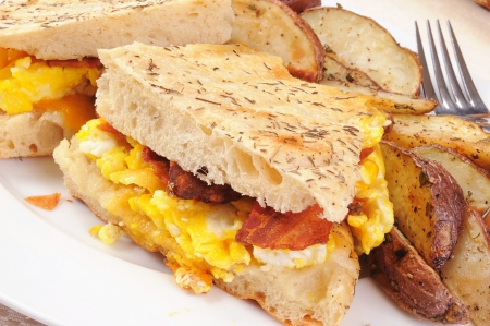 A bacon and egg panini with sliced potatoes photo