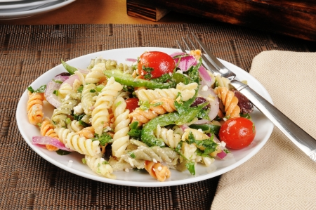 A pasta salad with vegetable noodles