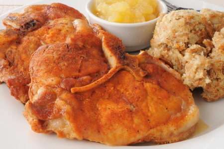 breaded pork chop: Close up of a breaded pork chop with stuffing and applesauce