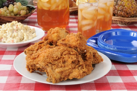 Summer foods, a fried chicken lunch on a picnic table