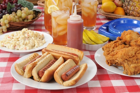 A picnic table loaded with summer foods photo