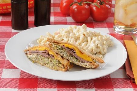 A grilled roast beef panini with macaroni salad photo