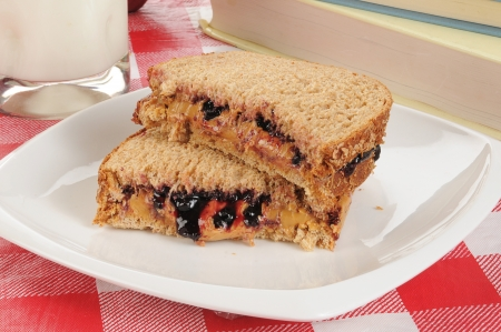 A peanut butter and jelly sandwich with school books photo
