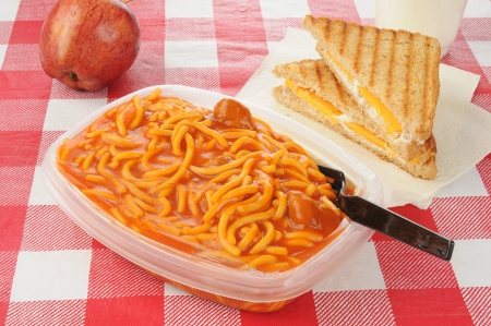 Spaghetti and a cheese sandwich for lunch Imagens - 14009645