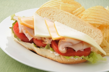 Closeup of a hogie or submarine sandwich with potato chips Stock Photo