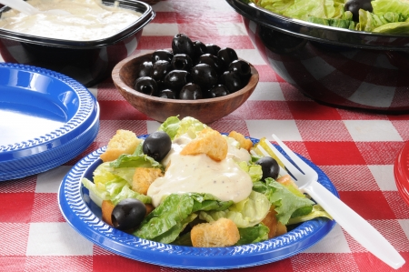 A plate of green salad with black olives and croutons photo
