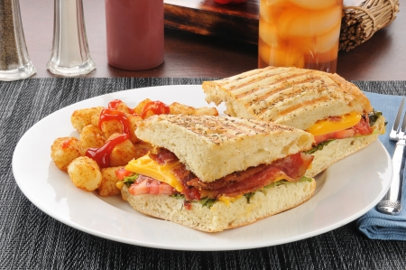 A bacon, lettuce, tomato and cheese panini with mini hash brown puffs photo