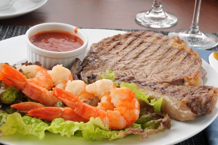 Close up of a grilled rib steak and shrimp Stock Photo - 14109119