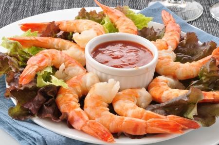 shrimp cocktail: Closeup shot of tiger shrimp prawns on a bed of lettuce Stock Photo