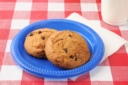 checker plate: Thick chewey chocolate chip cookies with milk Stock Photo