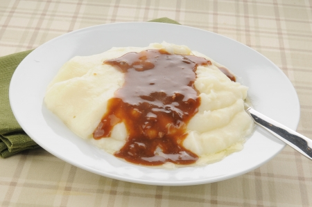 Closeup of a bowl of mashed potatoes and mushroom gravy photo