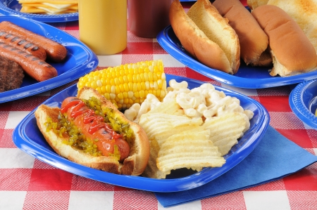 A hot dog with macaroni salad, chips and corn on the cob on a picnic table Banco de Imagens