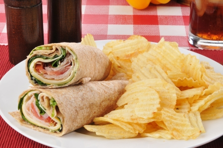 A smoked turkey wrap with chips photo