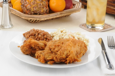Fried chicken with macaroni salad and Boston baked beans photo