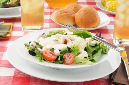 food dressing: A tossed green salad with tomatoes and ranch dressing Stock Photo