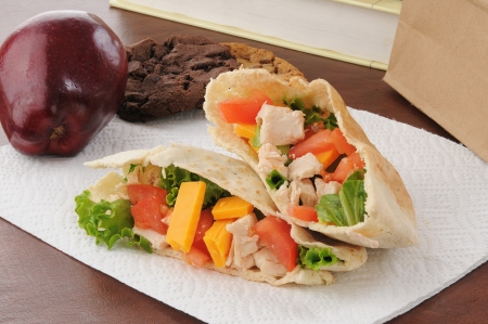 apple sack: a healthy school or sack lunch with a chicken pita sandwich, apple and cookies
