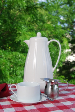 A pot of coffee served on the terrace