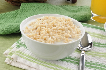 A breakfast cereal bowl of rice and milk Stock fotó