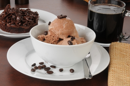 Coffee flavored ice cream with a brownie photo