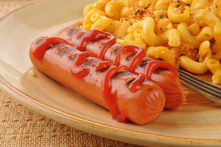 catsup: Close up of grilled hot dogs with catsup