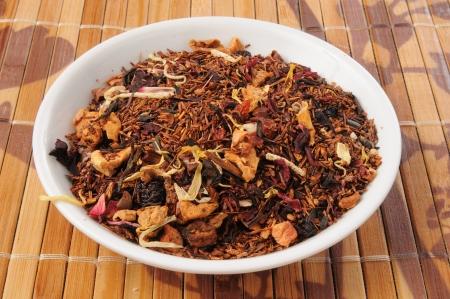 A sample dish of whole leaf honey spice rooibos tea