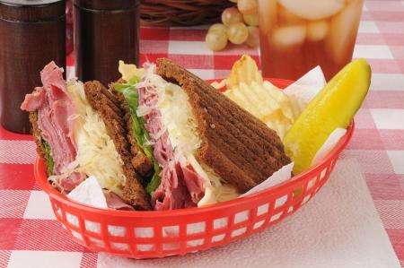 reuben: A reuben sandwich with potato chips
