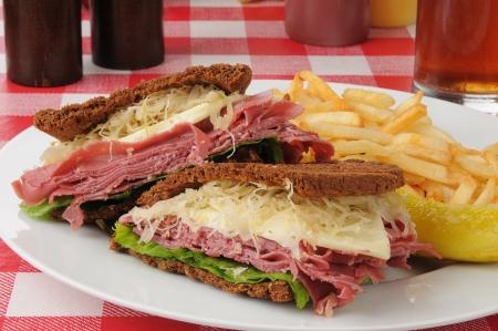 reuben: A reuben sandwich with french fries