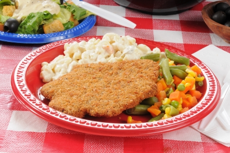 A plate of country fried steak with macaroni salad  photo