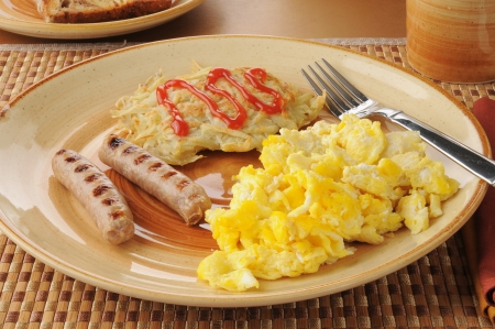 browns: Sausage and eggs with hash browns