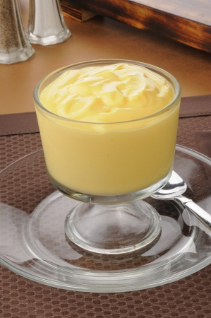 Creamy vanilla pudding in a frosted dessert glass