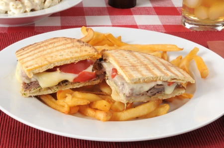 A roast beef and swiss cheese panini with fries photo