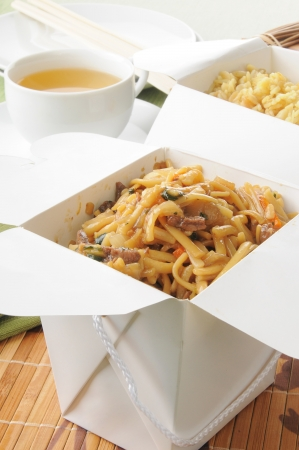 take out: Beef lo mein and fried rice in take out containers