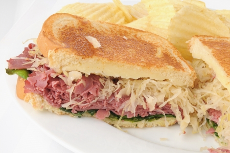 A reuben sandwich on a white backgroud photo