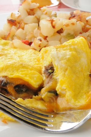 Close up of a mushroom omelet with potatoes OBrian photo
