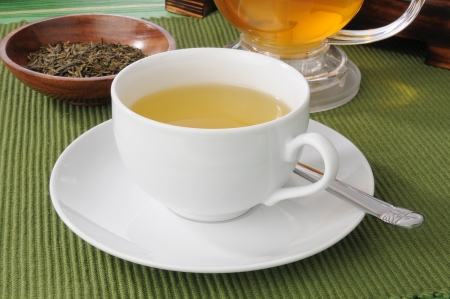 sencha tea: A cup of green tea with whole leaves in a sample dish