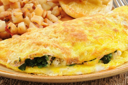 Closeup of a spinach and feta cheese omelet