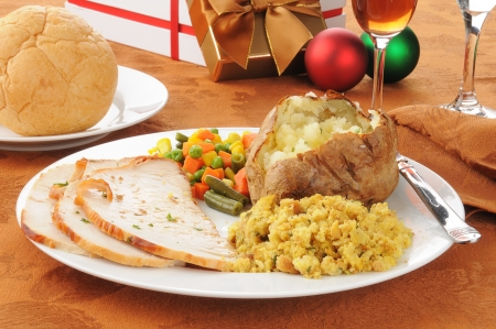 stuffing: Sliced turkey and stuffing for Christmas dinner Stock Photo