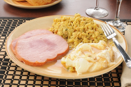 stuffing: Sliced ham and stuffing with mashed potatoes