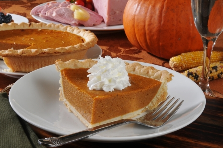 a slice of pumpkin pie with whipped cream for the holidays