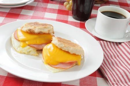 English muffins with Canadian bacon, fried egg and cheddar cheese photo
