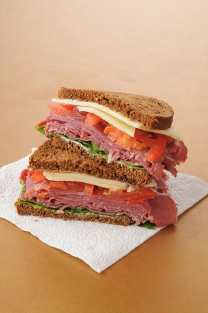 A corned beef sandwich on dark rye photo