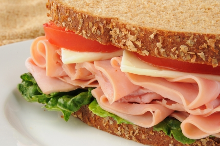 Closeup of a ham and swiss cheese sandwich on whole wheat bread