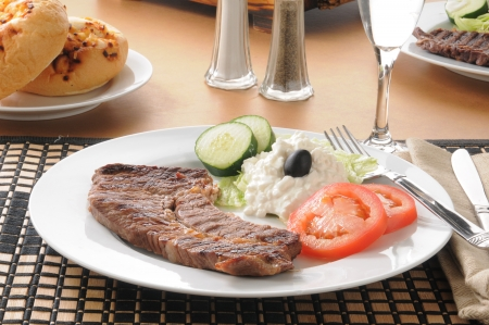 A lean grilled steak with cottage cheese Stock Photo - 15229948