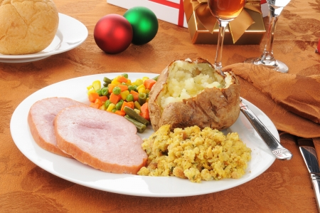 stuffing: Christmas dinner with ham and stuffing