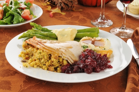 stuffing: Turkey dinner on a holiday dinner table