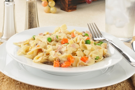 tunafish: A tuna noodle casserole with peas and carrots
