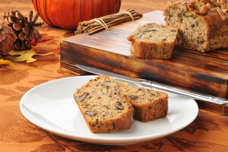 Banana nut bread on a holiday table photo