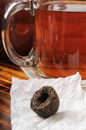 Pu erh tea molded into a nest shape Banco de Imagens - 15822872